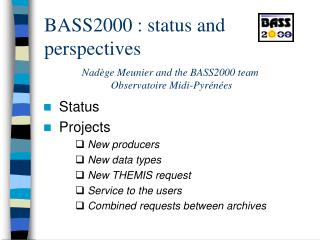 BASS2000 : status and perspectives