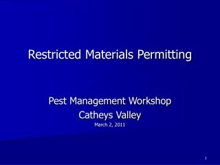 Restricted Materials Permitting