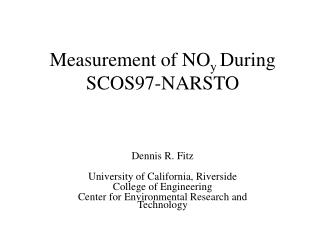 Measurement of NO y  During SCOS97-NARSTO