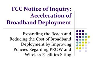 FCC Notice of Inquiry: Acceleration of Broadband Deployment