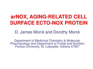 arNOX, AGING-RELATED CELL SURFACE ECTO-NOX PROTEIN