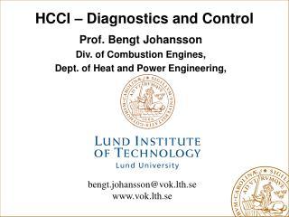 HCCI � Diagnostics and Control