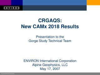 CRGAQS: New CAMx 2018 Results