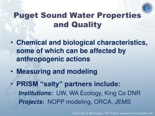 Puget Sound Water Properties and Quality