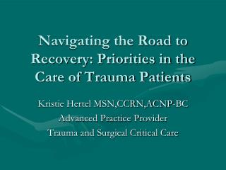 Navigating the Road to Recovery: Priorities in the Care of Trauma Patients