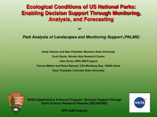 Park Analysis of Landscapes and Monitoring Support (PALMS)