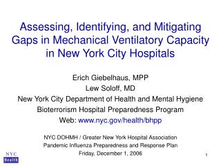Erich Giebelhaus, MPP Lew Soloff, MD New York City Department of Health and Mental Hygiene