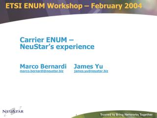 ETSI ENUM Workshop – February 2004