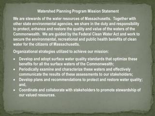 Watershed Planning Program Mission Statement