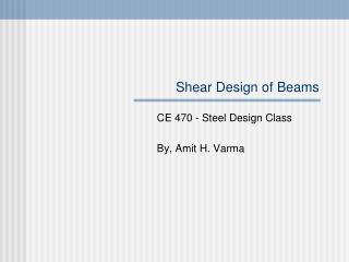Shear Design of Beams