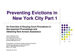 Preventing Evictions in  New York City Part 1