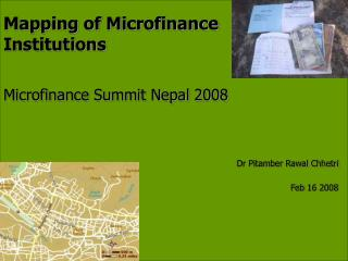 Mapping of Microfinance Institutions