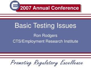 Basic Testing Issues