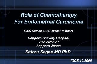 Role of Chemotherapy  For Endometrial Carcinoma