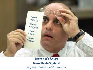 Voter ID Laws Team Phil-Is-Sophical Argumentation and Persuasion