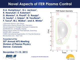 Novel Aspects of ITER Plasma Control