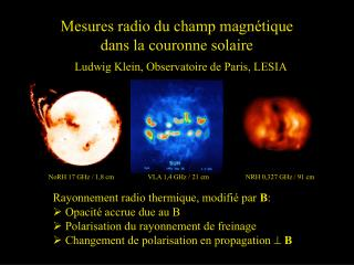 Mesures radio du champ magnétique  dans la couronne solaire