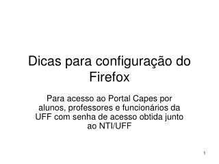 Dicas para configuração do Firefox