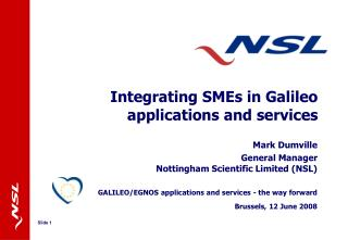 Integrating SMEs in Galileo applications and services