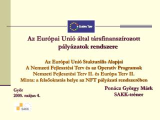 Az Európai Unió által társfinanszírozott pályázatok rendszere Az Európai Unió Stukturális Alapjai