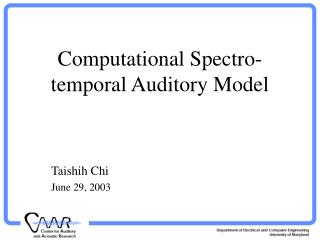 Computational Spectro-temporal Auditory Model