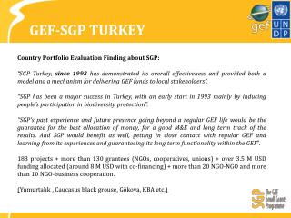 GEF-SGP TURKEY