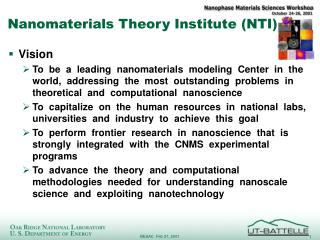 Nanomaterials Theory Institute (NTI)