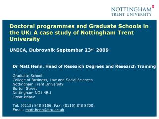 Dr Matt Henn, Head of Research Degrees and Research Training Graduate School