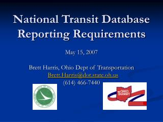 National Transit Database Reporting Requirements