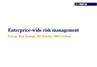 Enterprice-wide risk management