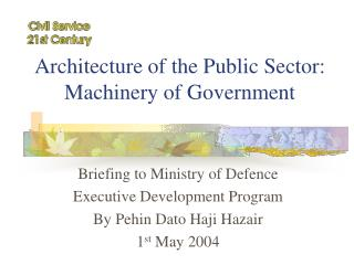 Architecture of the Public Sector: Machinery of Government