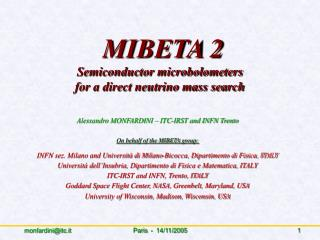 MIBETA 2 Semiconductor microbolometers  for a direct neutrino mass search