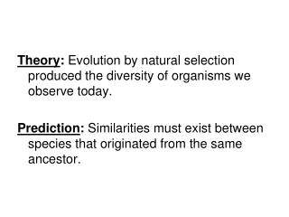 Theory :  Evolution by natural selection produced the diversity of organisms we observe today.