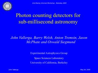Photon counting detectors for sub-millisecond astronomy