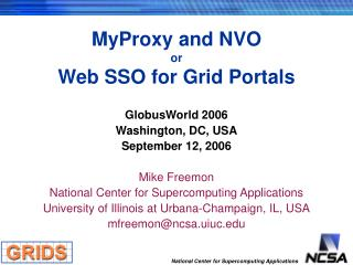 MyProxy and NVO or Web  SSO for Grid Portals