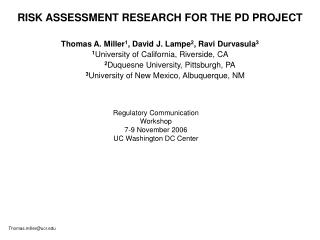 RISK ASSESSMENT RESEARCH FOR THE PD PROJECT