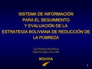 Luis Pereira Stambuk Director Ejecutivo INE BOLIVIA