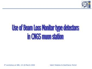 Use of Beam Loss Monitor type detectors  in CNGS muon station