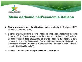Meno carbonio nell'economia italiana