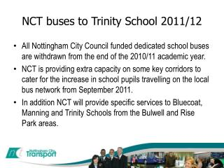 NCT buses to Trinity School 2011/12