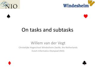 On tasks and subtasks