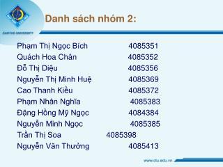 Danh sách nhóm 2: