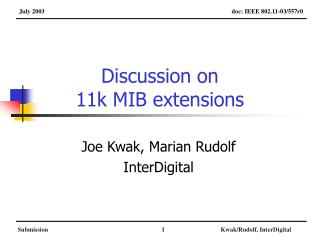 Discussion on 11k MIB extensions