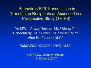 Parvovirus B19 Transmission in Transfusion Recipients as Assessed in a Prospective Study (TRIPS)