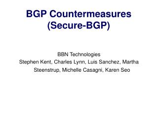 BGP Countermeasures Secure-BGP