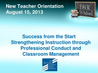 New Teacher Orientation August 15, 2013