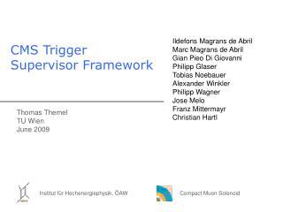 CMS Trigger Supervisor Framework