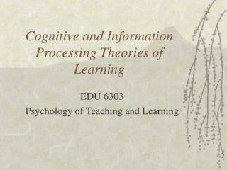 Cognitive and Information Processing Theories of Learning