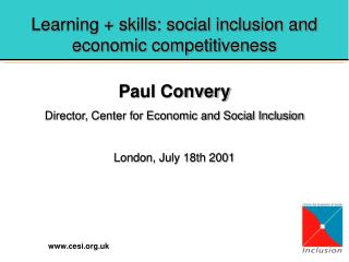 Learning + skills: social inclusion and economic competitiveness