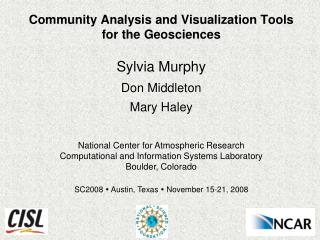 Community Analysis and Visualization Tools for the Geosciences